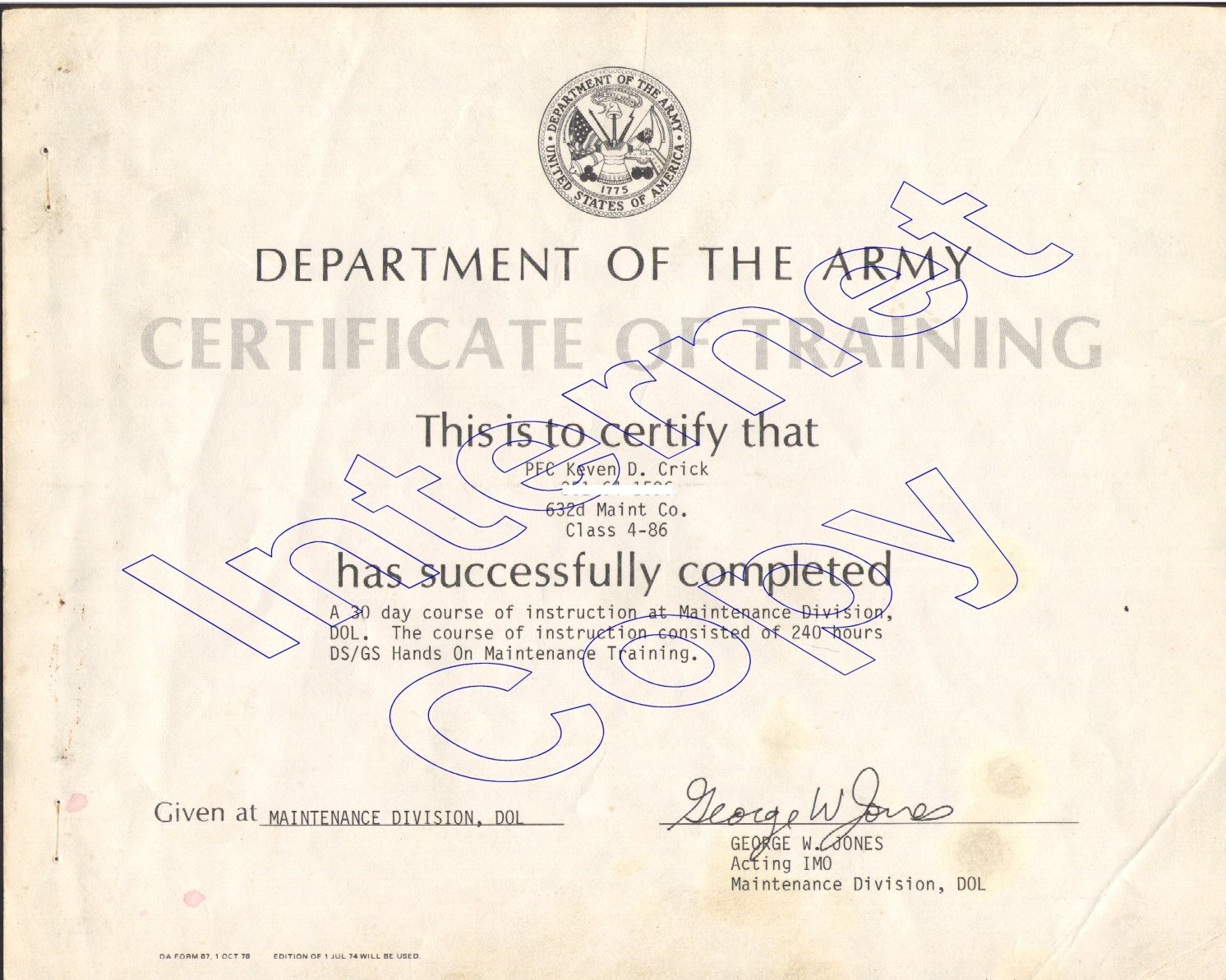 Keven crick education certifications us army dod direct general support certification 1betcityfo Gallery