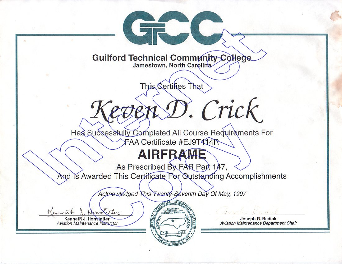Keven crick education certifications faa airframe faa powerplant gtcc certified mobile vehicle air conditioning technician 1betcityfo Gallery