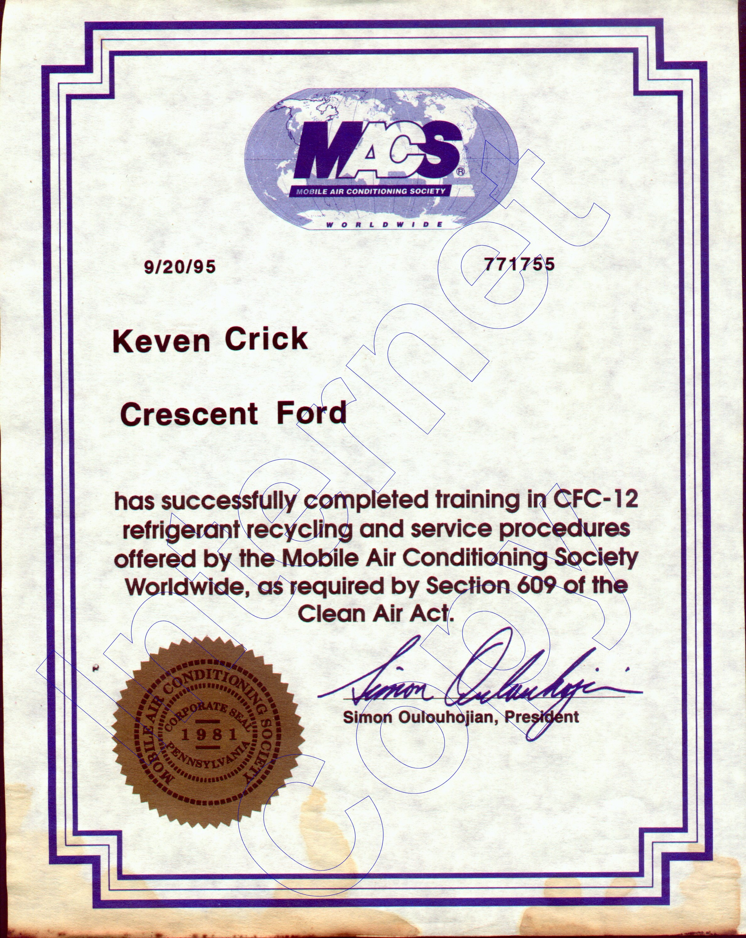 Keven crick education certifications september 20 1995 mobile ac certification 1betcityfo Gallery