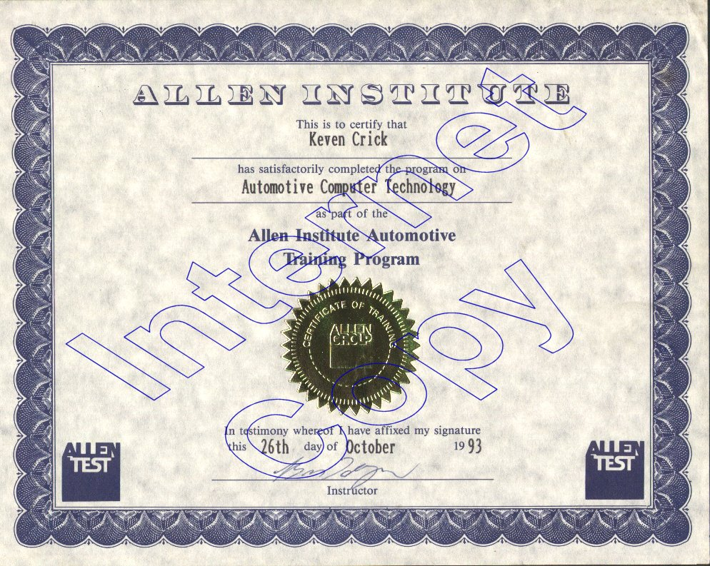 Keven crick education certifications october 26 1993 allen insitute automotive pc technology 1betcityfo Gallery